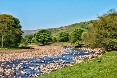 Yorkshire Dales: Scenic view of the River Swale meandering through a lush green valley with rolling green hills in the Yorkshire Dales, England