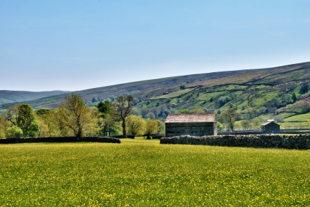 Yorkshire Dales: Old stone barn on a grassy meadow at the foor of a hill in the English countryside iin the Yorkshire Dales National Park Stock Photo