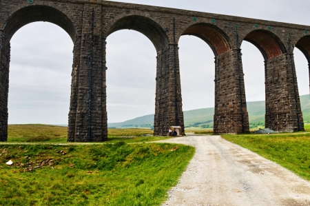 An oblique view of the famous Grade II  listed Ribblehead Viaduct on the Settle - Carlisle railway line Stock Photo - 14626411