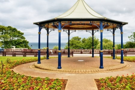 bandstand: A traditional English bandstand under an overcast sky in the seaside resort of Bridlington, North Yorkshire Stock Photo