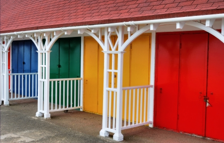 A row of colouful beach huts in the popular English seaside resort of Scarborough Stock Photo - 15047146