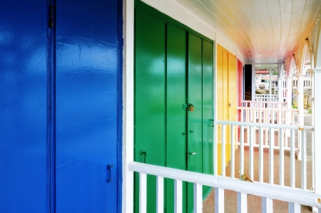 A row of colouful beach huts in the popular English seaside resort of Scarborough Stock Photo - 15047147