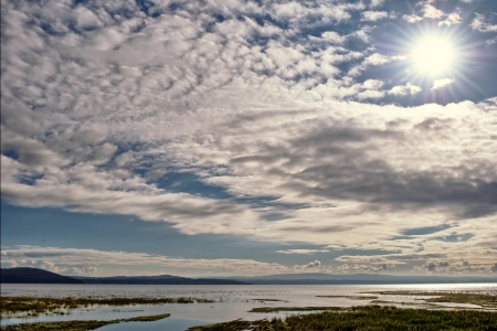 altocumulus: View of a summer sky with sun shining and beautiful altocumulus clouds, over saltmarshes in Morecambe Bay, Cumbria, with an incoming tide   Stock Photo