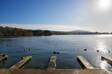 View of jetties on Talkin Tarn, Brampton, with trees in autumnal colours around the lakeside, and ducks swimming on the tranquil water Stock Photo - 17011189