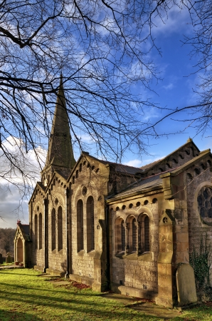 christ church: A view of Christ Church in Chatburn, a Grade 2 listed limestone building, completed in 1883 and built in the Romanesque style by architect Edmund Sharpe of Lancaster
