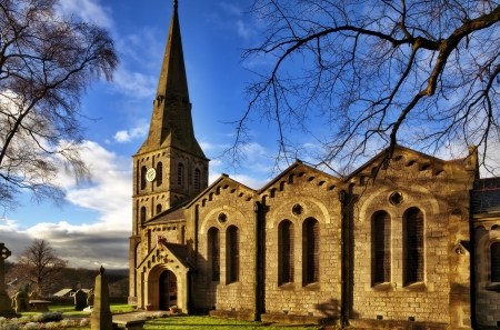 Christ Church in Chatburn, Lancashire; a Grade 2 listed limestone building, completed in 1883 and built in the Romanesque style by architect Edmund Sharpe of Lancaster with surrounding graveyard Stock Photo - 17462076