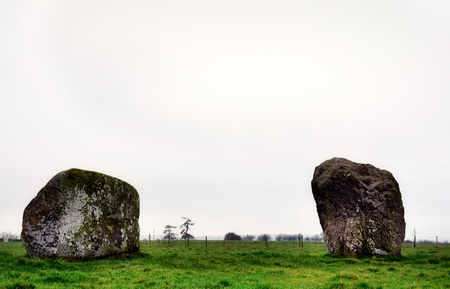 A view of two of the rhyolite granitic boulders in Long Meg Stone Circle, a ancient site also known as Maughanby Circle, near Little Salkeld, Cumbria     Stock Photo - 18282751