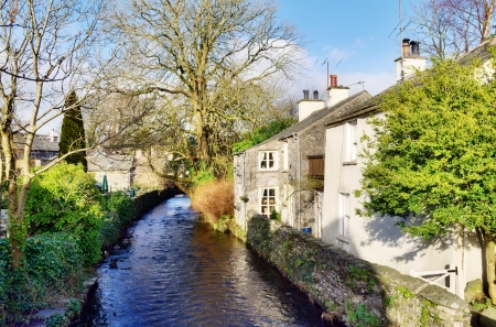 Peaceful view of a stream running through fields, with tree lined bank, in Cartmel,Cumbria,England Stock Photo - 18367134