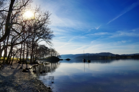 Peaceful view of boats and trees reflected in Lake Windermere on a sunny winter morning, in the English Lake District Stock Photo - 18674948
