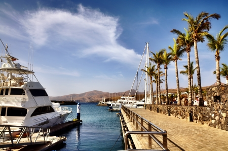 Puerto Calero marina in Lanzarote, Spanish Canary Islands Stock Photo - 18785303