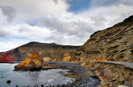 Charco de Los Ciclos, or Green Lagoon, on Lanzarote in the Canary Islands  Stock Photo - 19266613