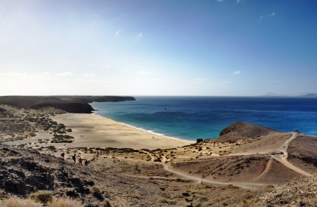 Scenic view of Playa de Mujeres beach, Papagayo, Playa Blanca, Lanzarote, Canary Islands, Spain  Stock Photo - 19680565