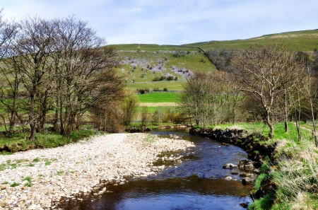 Yorkshire Dales: View of the River Wharf with tree bordered banks, against a hilly background in the Yorkshire Dales, England