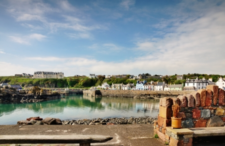 Tranquil view of houses around Portpatrick harbour in southwest Scotland, on a beautiful summers day Stock Photo - 20299100