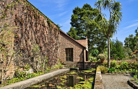 View of a wall with a small building and pool at Logan Botanic Gardens on the Mull of Galloway in South West Scotland Stock Photo - 21933949