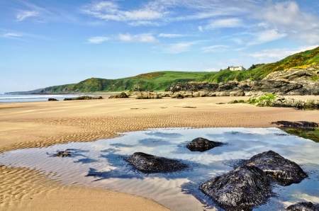 dumfries and galloway: View of seaweed covered rocks in a pool on the rippled sand at Killantringan Bay in Dumfries and Galloway, Scotland Stock Photo