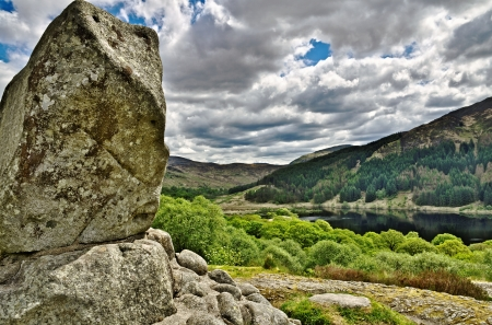 Bruce s stone above Loch Trool Stock Photo - 21933958