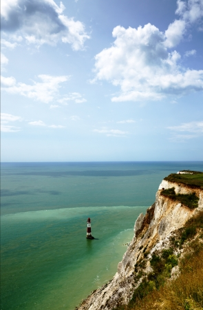 View of the lighthouse at the chalk cliffs of Beachy Head, East Sussex, England Stock Photo - 23086271