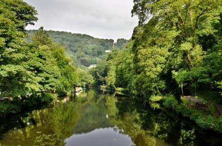 View of the River Derwent lined by trees at Matlock Bath in Derbyshire, England Stock Photo - 23859663