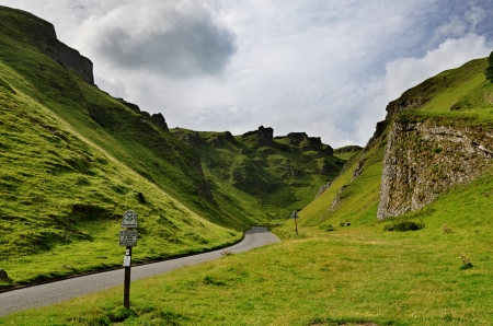 View of Winnats Pass in the High Peak area of Derbyshire Stock Photo - 23859794