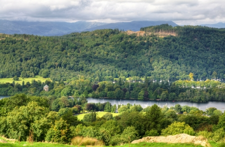 View of wooded slopes above Windermere in the English Lake District Stock Photo - 23868188
