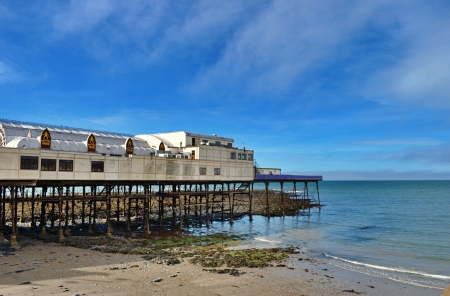 View of Aberystwyth pier and beach, Ceredigion, Wales, on a beautiful summers day Stock Photo - 23868774