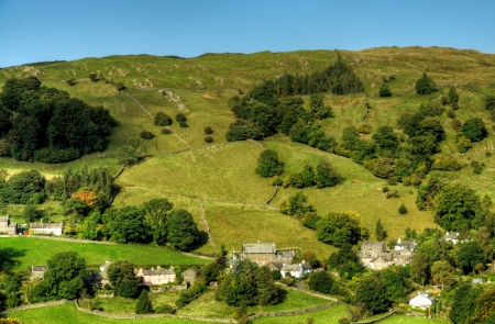 View of Troutbeck Village nestled amongst hills in the English Lake District Stock Photo - 24540293