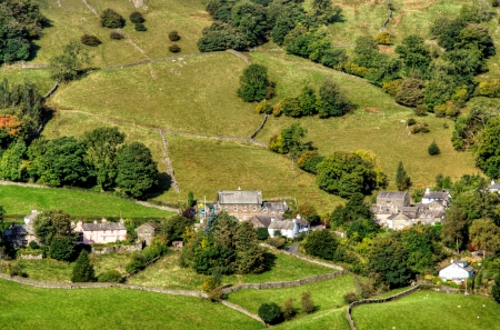 View of Troutbeck Village nestled amongst fells in the English Lake District Stock Photo - 24540295