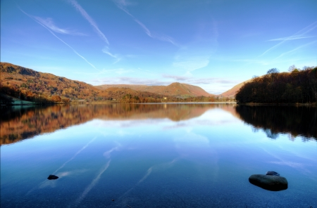 Reflections in Grasmere on a sunny autumn day in the English Lake District Stock Photo - 24914713