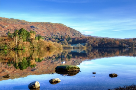 Hills reflected in Grasmere on a sunny autumn day in the English Lake District Stock Photo