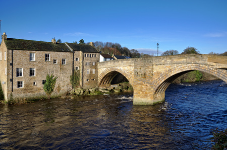 listed buildings: Grade One listed double arched stone bridge and adjoining buildings in Barnard Castle,County Durham,England