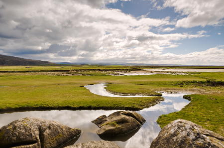 cumbria: View rocks and a stream by the coast at Silverdale, Lancashire