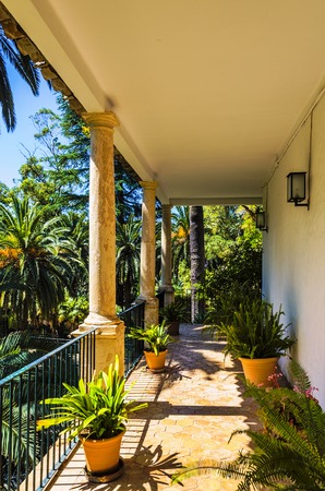 spanish house: The balcony of a historical Spanish house and garden at Alfabia, Mallorca.
