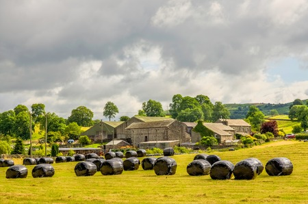 cumbria: Scenic rural landscape with covered hay bales in the foreground, Cumbria, England. Stock Photo