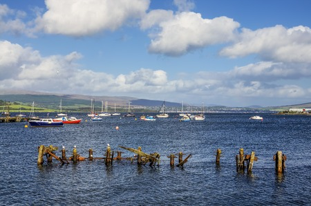 Scenic view of boats moored in Gourock Bay on the River Clyde, Inverclyde, Scotland.
