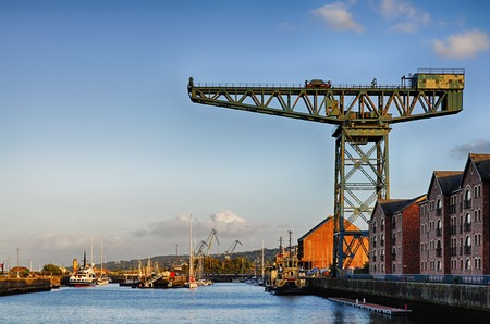 Crane on the waterfront of Gourock docks in Inverclyde, Scotland.