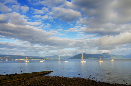 Scenic view of boats sailing on the river Clyde at Gourock, Inverclyde, Scotland.