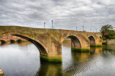 Scenic view of the Old Bridge in the town of Ayr, Scotland.