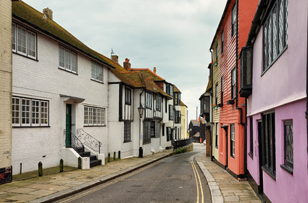 A winding street in the old town part of Hastings, East Sussex, England.