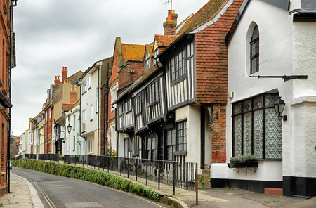 A row of historical buildings in the old town part of Hastings, East Sussex, England Stock Photo