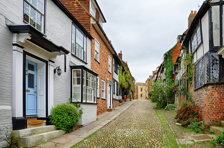 Mermaid Street, a historic Cobbled street in the picturesque, historic English town of Rye, East Sussex. Stock Photo