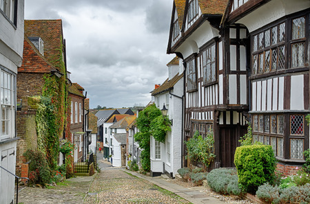 Mermaid Street, a cobbled hill in the picturesque, historic English town of Rye, East Sussex