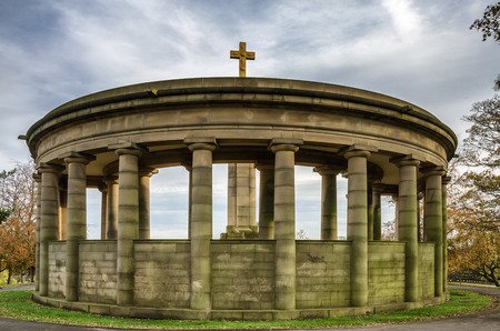 View of the domed, circular war memorial in Greenhead park, Huddersfield, Yorkshire, England Editorial