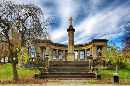 Flight of stone steps leading to the war memorial in Greenhead park, Huddersfield, Yorkshire, England.