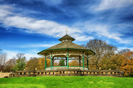 Bandstand in the popular green area of Greenhead park, Huddersfield, Yorkshire, England