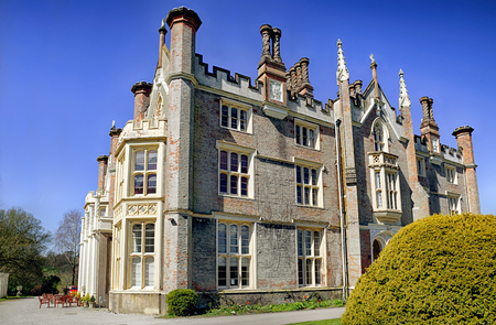 victorian architecture: The historic Conishead Priory near Ulverston, Cumbria, England. A classic example of early gothic Victorian architecture now used as a Buddhist retreat.