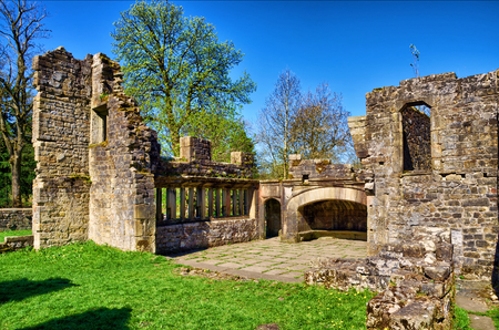 Wycoller Hall was a late sixteenth century manor house in the village of Wycoller, Lancashire, England. Stock Photo