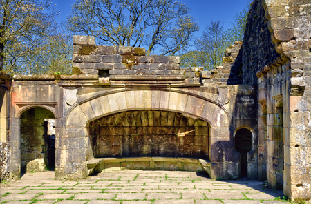 The fireplace of Wycoller, a late sixteenth century manor house in the village of Wycoller, Lancashire, England, now in ruins. Editorial