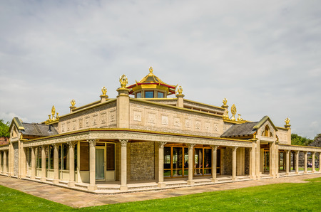priory: A view of the ornate Buddist temple at Conishead Priory, near Ulverston, Cumbria, Northern England. Stock Photo