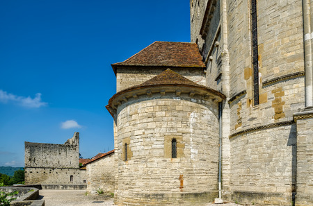 A detail of the terrace viewpoint by St Andrews church, in the pretty French medieval town of Sauveterre-de-Bearn. Pyrenees-Atlantiques region.